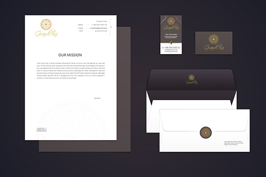 Grandi Vini business card and headed paper